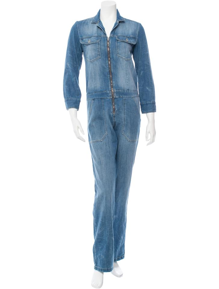 3372b790687c Isabel Marant Blue Faded Zip Denim Overalls Romper Jumpsuit - Tradesy
