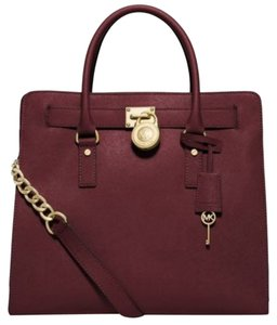 Michael Kors Leather Gold Hardware Tote in Merlot