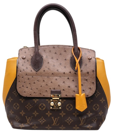 Preload https://item3.tradesy.com/images/louis-vuitton-exotique-ostrich-and-lizard-majestueux-pm-leather-yellow-coated-canvas-tote-10321162-0-1.jpg?width=440&height=440