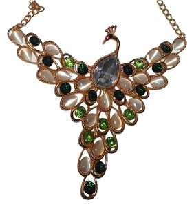 Cat's Eye Gold Tone Peacock Bib Necklace Earrings J1772
