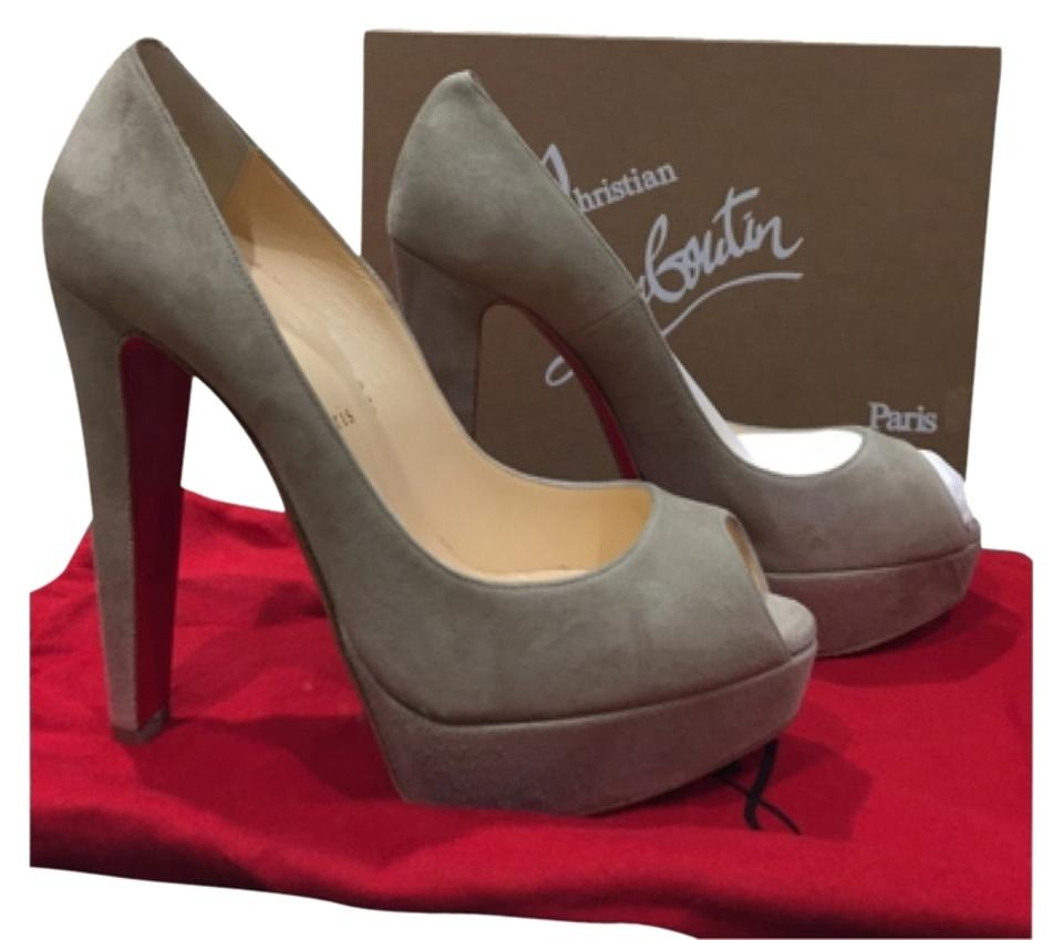 Christian Louboutin Suede Neutral Open Altanana Stone Open Neutral Toe Pump 40 Pierre Platforms 8bc653