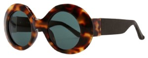The Row The Row Thick Oval Tortoise Sunglasses W/ Leather