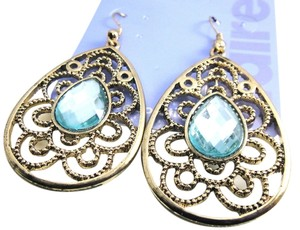Other New Blue Crystal Dangle Earrings Gold Tone J1773