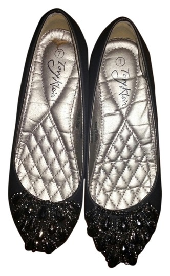 Tory Klein Beaded Comfy Cute Dressy Black Flats