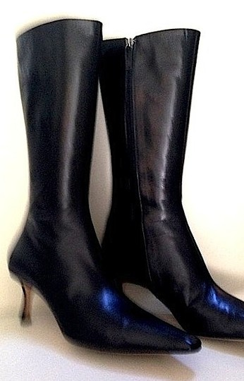 Jimmy Choo Midcalf Leather Black Boots