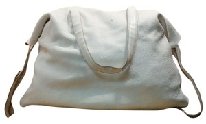 Maison Martin Margiela Leather Oversized Minimalist Designer Tote in White