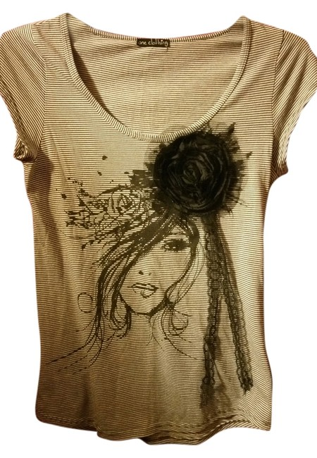 Preload https://item2.tradesy.com/images/one-clothing-dark-brown-and-white-tee-shirt-size-os-one-size-10324636-0-1.jpg?width=400&height=650