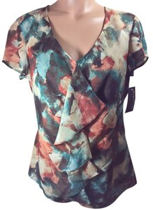 Evan Picone Rust Brown Top Multi - Brown, Rust, Teal Blue, Cream