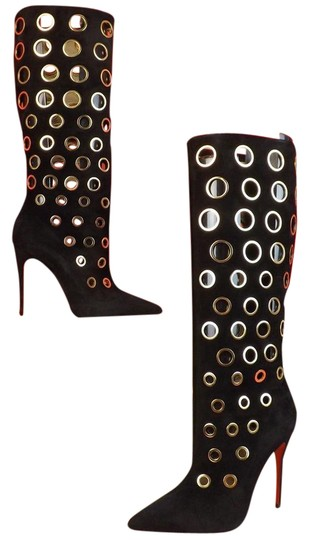 Preload https://item5.tradesy.com/images/christian-louboutin-blackgold-apollo-100-suede-eyelets-embellished-bootsbooties-size-eu-375-approx-u-10324729-0-3.jpg?width=440&height=440