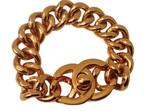 Chanel CHANEL RARE VINTAGE '96P GOLD PLATED CC TURNLOCK BRACELET