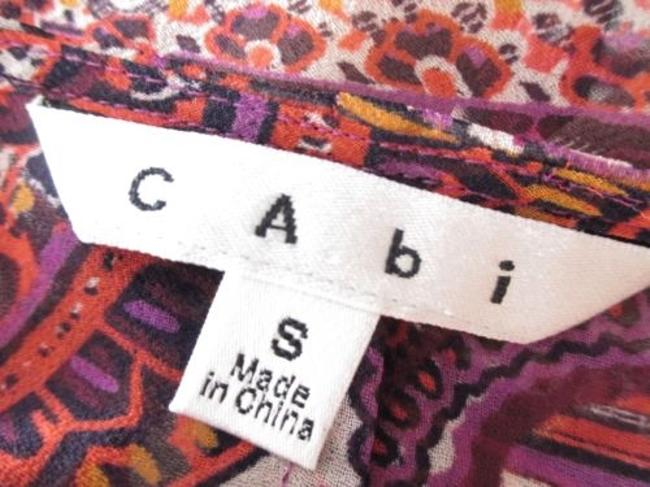 CAbi 841 Purple Orange Epic Tunic Paisley Chevron Tribal Kimono Top Multi-Color