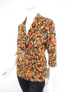 Laura Ashley Orange Yellow Autumn Fall Faux Petite Ps Sweater