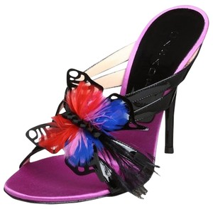 Casadei Feather Patent Leather Violet Sandals