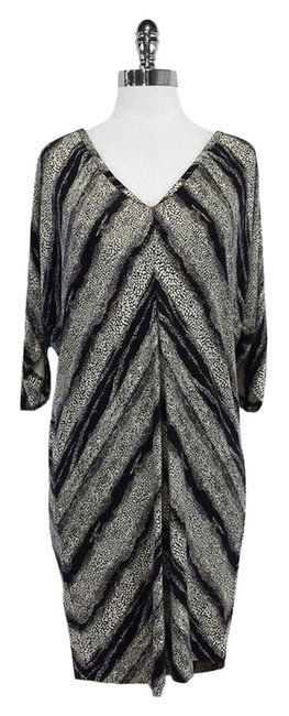 Diane von Furstenberg short dress Black White Print Silk on Tradesy
