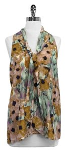 Theory Multi Color Floral Print Silk Top