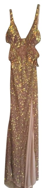 Item - Nude/Gold (Sequins) Long Night Out Dress Size 6 (S)