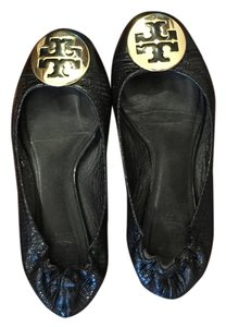 Tory Burch Leather Lizard Black and Gold Flats