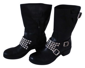 BCBGeneration Studded Leather Silver Buckle Black Boots