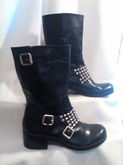 BCBGeneration Studded Leather Silver Buckle Motorcycle Black Boots