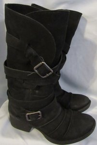 Gianni Bini Buckle Straps Plaid Round Toe Black Boots