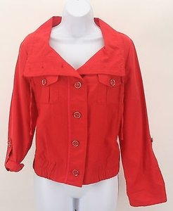 Chico's 1 Button Front Tab Sleeve Elastic Waist B337 Red Jacket
