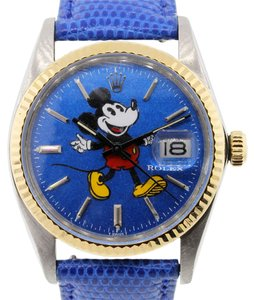 Rolex Rolex 16013 Datejust Mickey Mouse Dial Leather Strap Watch