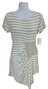ECI New York Knit Scoop Neck Stripes Asymmetrical Shirt Medium Ruching Ruffles Top Tan & white