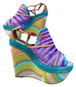 Missoni Designer Luxury Resale Multi-Color Knit Wedges