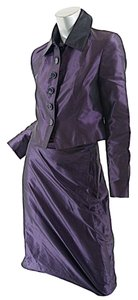 Pauw Amsterdam PAUW Deep Plum Satin 100% Silk Skirt-Suit w/Bubble Skirt - BEAUTIFUL - NWT - US2