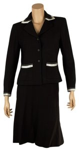 Chanel Chanel Black & White Trim Wool Skirt Suit, Size 40 (68876)