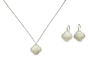Unknown Sterling Silver and CZ Clover Necklace and Earrings