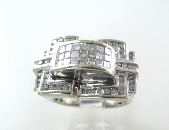 Other 14KT WHITE GOLD RING CLUSTER 61 DIAMONDS 1 CARAT SZ 7 WEDDING BAND 10.4 GRAMS