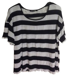 Forever 21 Striped Stripes Loose T Shirt Black and White