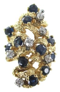 14KT YELLOW GOLD RING COCKTAIL 6 DIAMONDS 11 BLUE SAPPHIRES GENUINE JEWEL SZ 4