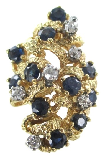 Preload https://img-static.tradesy.com/item/10328203/gold-14kt-yellow-cocktail-6-diamonds-11-blue-sapphires-genuine-ring-0-1-540-540.jpg