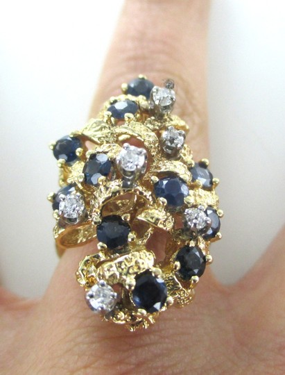 Other 14KT YELLOW GOLD RING COCKTAIL 6 DIAMONDS 11 BLUE SAPPHIRES GENUINE JEWEL SZ 4