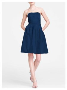 David's Bridal Navy Blue Cotton Sateen Strapless With Ruching And Pockets Style 83312 Dress