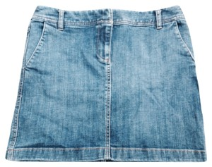 Ann Taylor LOFT Mini Mini Skirt Medium wash blue denim