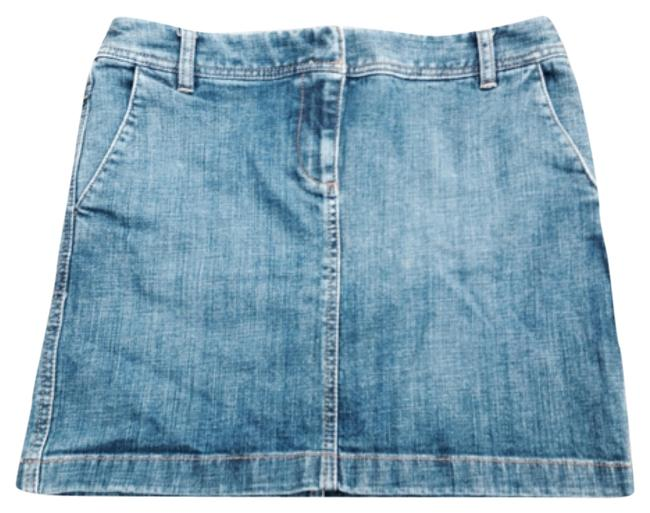 Ann Taylor Loft Medium Wash Blue Denim Cute Mini Skirt