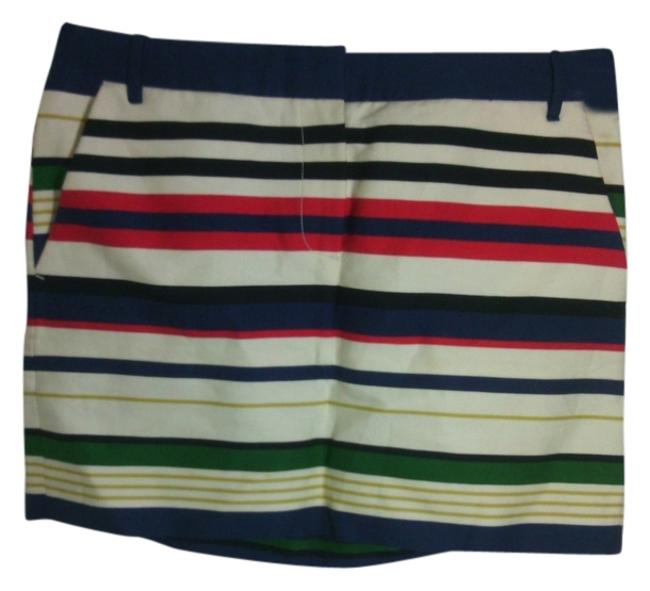 J.Crew Mini Skirt stripped blue red black mustard green
