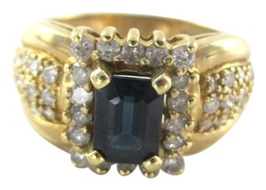 14KT YELLOW GOLD RING DIAMONDS 1 CARAT SAPPHIRE WEDDINg