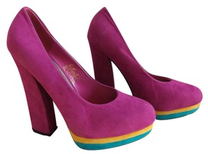 Yoki Magenta Fuchsia Multi Color with goldish/teal bottoms, Pumps