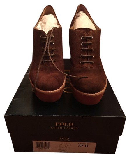 Ralph Lauren Suede Polo Leather Platform Brown Snuff (Brown) Boots
