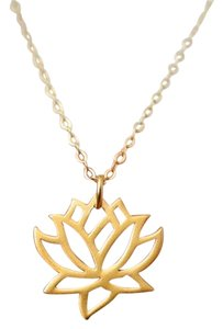 New Lotus Flower 14K Gold Plated Necklace, Lotus Flower Necklace, Yoga Jewelry
