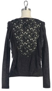 Anthropologie Lace Ruffle Hazel Top CHARCOAL