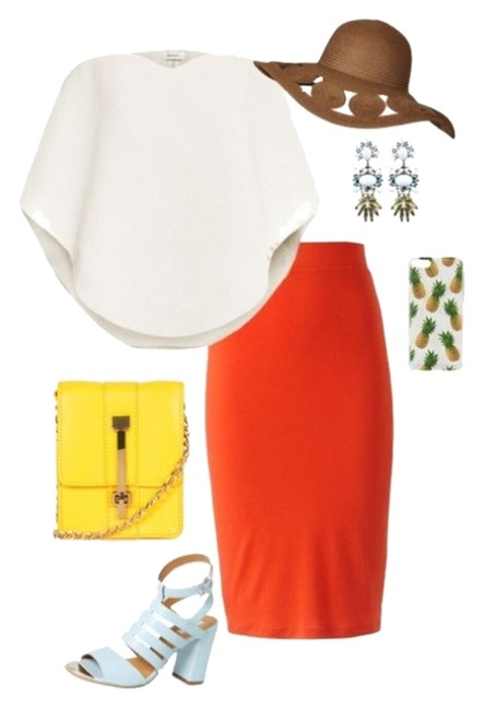 Item - Orange Classic Knit Pencil Skirt Size 4 (S, 27)