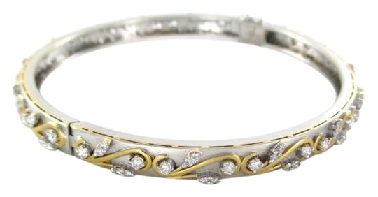 Preload https://item5.tradesy.com/images/gold-18kt-solid-white-yellow-bangle-98-diamonds-195-carat-matte-jewel-bracelet-10331089-0-1.jpg?width=440&height=440