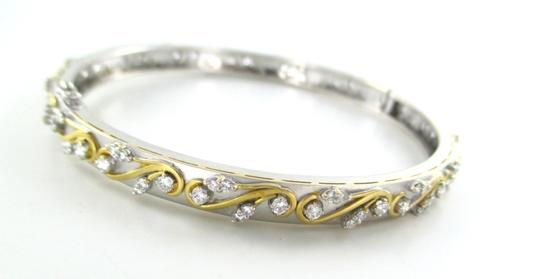 Other 18KT SOLID WHITE YELLOW GOLD BRACELET BANGLE 98 DIAMONDS 1.95 CARAT MATTE JEWEL