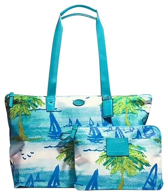 Item - Scene Weekender F 30022 Multicolor Canvas with Leather Trim Beach Bag