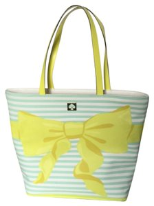 Kate Spade New York Poplar Sonoro teal/ white strip with yellow bow Beach Bag